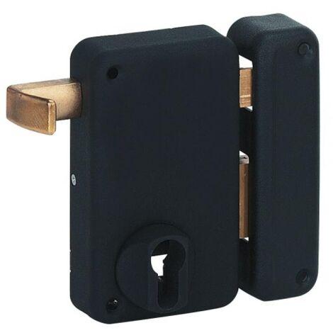 Serrure en applique verticale à tirage - Pêne dormant et demi-tour - A cylindre européen - Optimum main droite