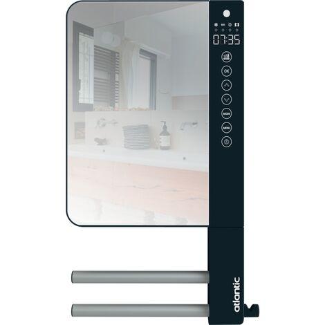Sèche-serviettes électrique soufflant Télia anthracite 2 barres et 1 miroir 1800 W pour cuisine et salle de bain
