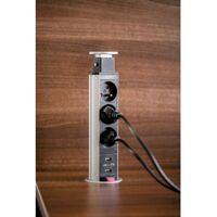 Bloc 3 prises escamotable avec 2 USB diamètre 60mm câble 1.5M 16A.230V 2P+T aluminium
