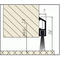 Plinthe en applique à fixation invisible et brosse de bas de porte type IDS - B finition bronze