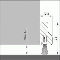 Profil de bas de porte en hêtre naturel avec brosse en 1 ml