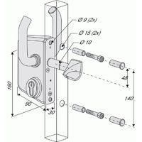 Serrure type LSKZ pour portail coulissant gris alu pour tube de 80 mm