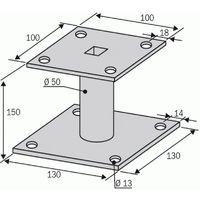Kit pied de poteau à platine fixe KIT FIX PPA 150, hauteur 150 mm