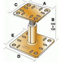 Kit pied de poteau réglable en charge KIT FIX PPRC, hauteur 100/150 mm