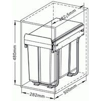 Poubelle Practi Eco pour caisson de 300 mm, bac de 1x20l + 1x10l avec coulisses Soft close, fixation sur le fond