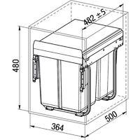 Poubelle Practi Eco pour caisson de 400 mm, bac de 1x20l + 2x10l avec coulisses Soft close, fixation sur le fond