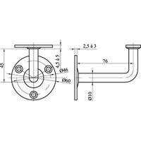 Support de rampe sur platine ronde à visser inox