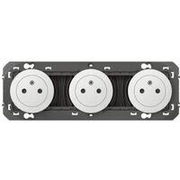 Triple prise de courant 2P+T Surface Dooxie 16A précâblées blanc