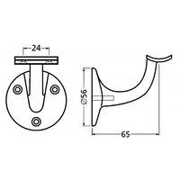 Support de rampe en aluminium sur platine ronde à visser type 3500 - Déport PMR 75 mm - plat - noir