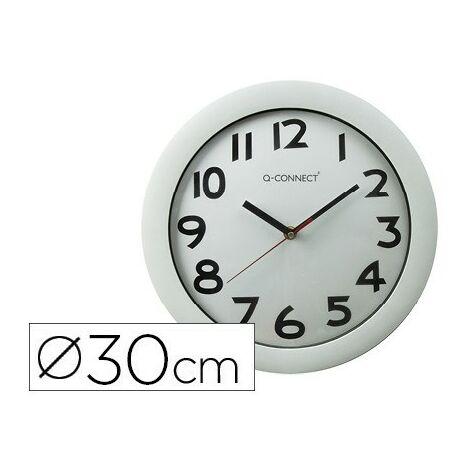Reloj q-connect de pared plastico oficina redondo 30 cm marco blanco