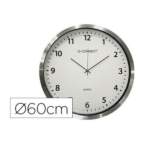Reloj q-connect de pared plastico oficina redondo 60 cm marco cromado