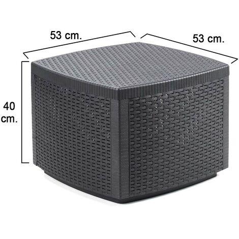 Mesa resina auxiliar simil rattan cofre 53x53x40 cm.