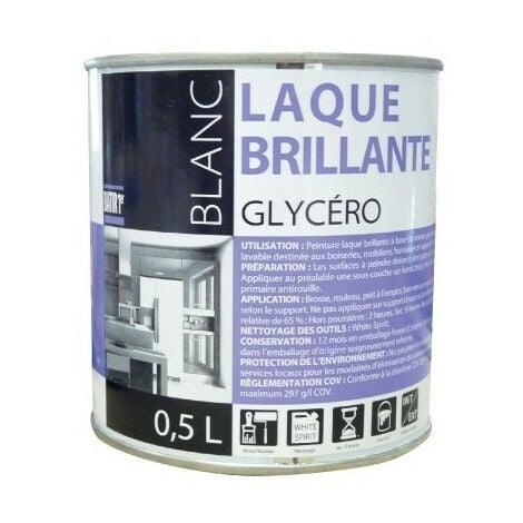 Peinture Laque Glycero Brillante 0.5 litre - BATIR - blanc