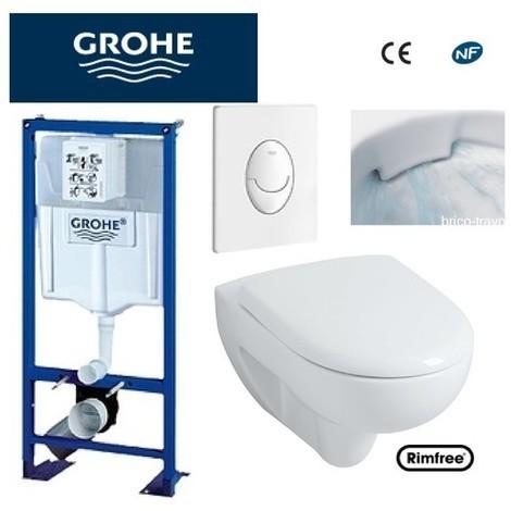 Wc suspendu grohe plaque blanche +rimfree