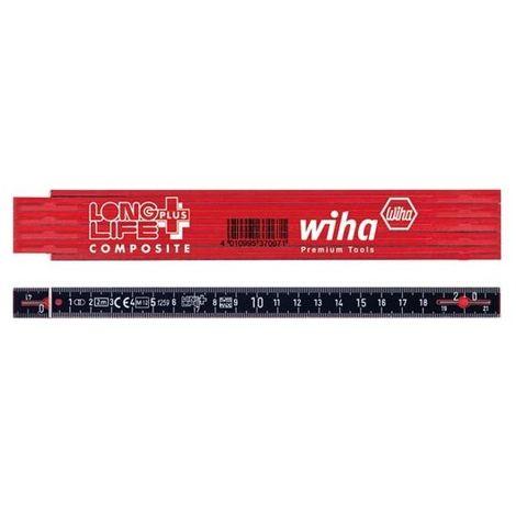 wiha mètre pliant longlife® plus composite 2 m métrique, 10 branches (37067) rouge/ noir