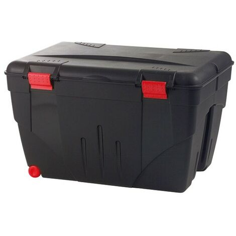 Malle de rangement TRAFIC 200 l 2 roulettes 84,8 x 61 x 51,5 cm noir-accessoires rouge