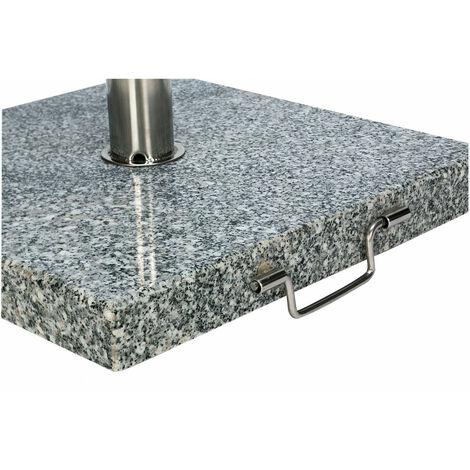 Pied De Parasol lourd Granit Noir/Blanc Carre 60kg avec Roulettes