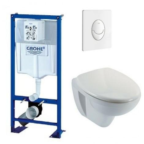 Bati support wc suspendu grohe autoportant plaque blanche first
