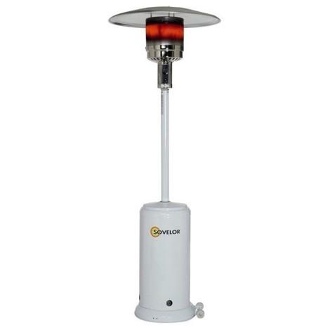 Parasol chauffant mobile sur roues au gaz propane en acier inox poli