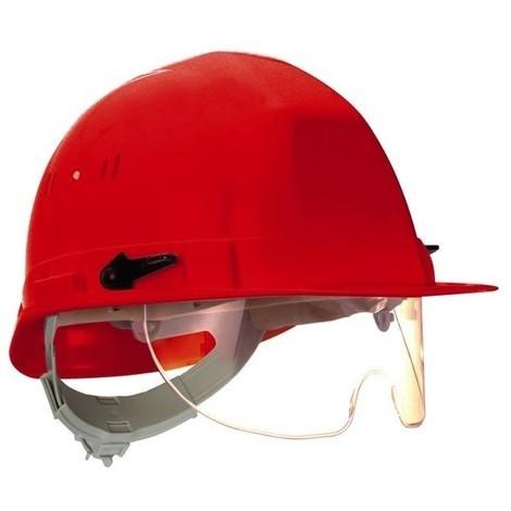 Casque chantier visioceanic en397 rouge rb 40 lunette incorporee