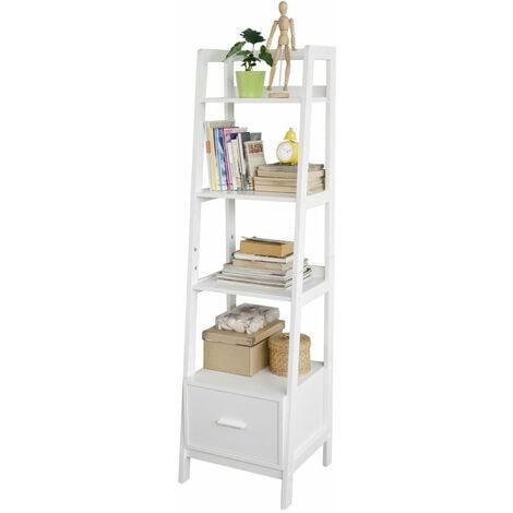 SoBuy® Estanteriá en escalera de madera, Estanterías librerias, FRG116-K-W, ES