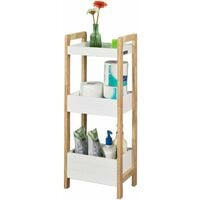 SoBuy®Estantería de baño con 3 niveles de bandejastantería tipo escalera, H74 cm, FRG226-WN