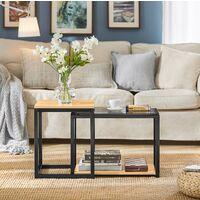 SoBuy® Juego de 2 mesas auxiliares anidadas de madera y metal, Mesa auxiliares de salón, FBT35-SCH, ES