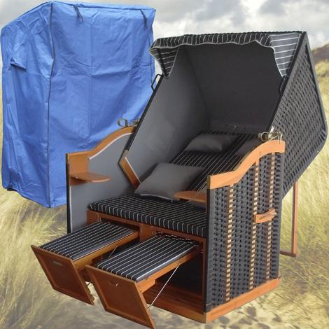 Strandkorb Anthrazit # 2-Sitzer # XL # anthrazit # Polyrattan