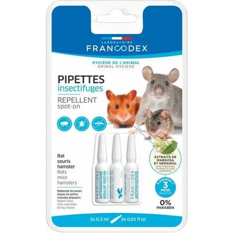 Pipettes insectifuges pour rat, souris et hamster x3
