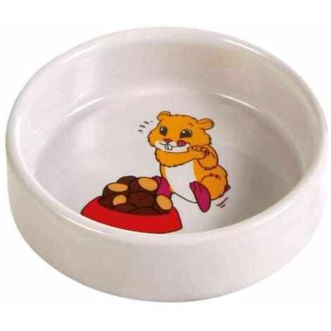 Gamelle, motif hamster, en céramique - 90 ml/ø 8 cm, crème