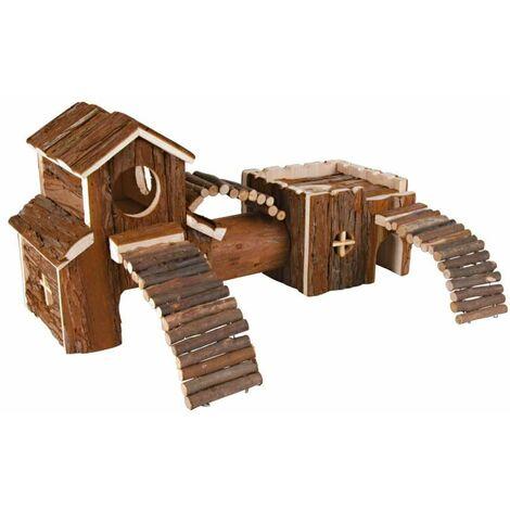 Système tunnel frida, dègues, en bois d'écorce - 47 × 22 × 15 cm
