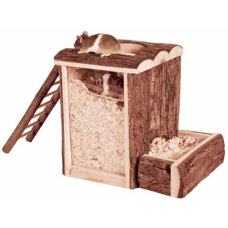 Tour à creuser, souris, en bois d'écorce - 20 × 20 × 16 cm