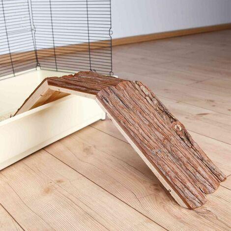 Pont pour cage, lapin, en bois d'écorce - 63 × 18 × 15 cm