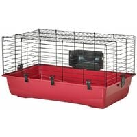 Cage grand rongeur ambiente beige/rouge 80x50x43cm