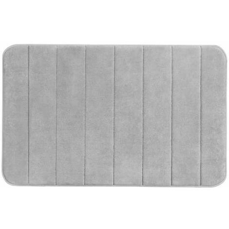 Alfombra de baño Memory Foam Stripes gris claro