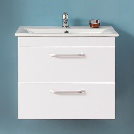 Wall Hung Bathroom Basin Vanity Unit 600mm White-2 Drawers