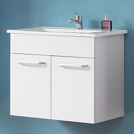 600mm Bathroom Vanity Unit with Sink White Wall Hung