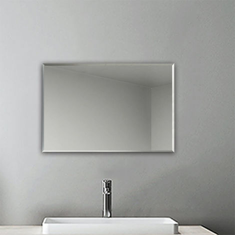 Plain Frameless Wall Mirror Large Full Length With Wall Hanging Fixings Bathroom 450x300