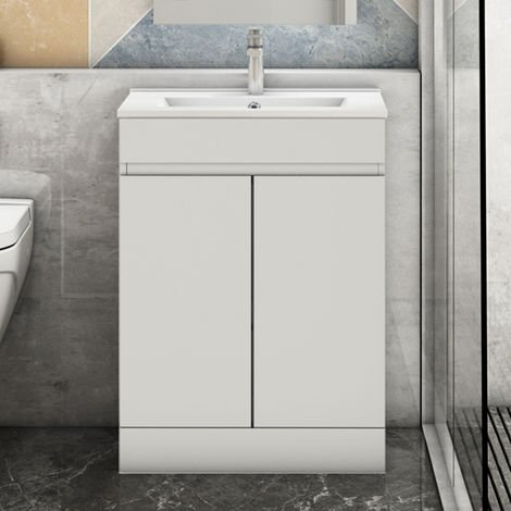 600mm Modern White Freestanding Bathroom Sink and Cabinet Vanity Unit Doors