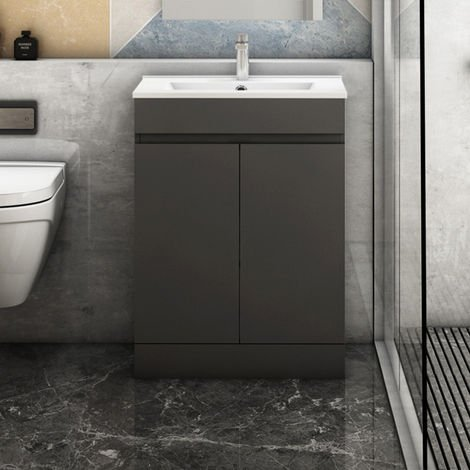 600mm Modern Grey Freestanding Bathroom Sink and Cabinet Vanity Unit Doors