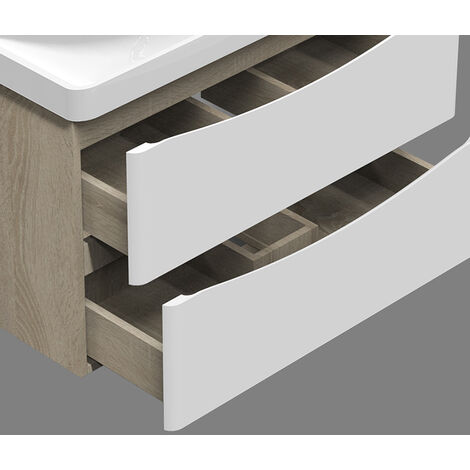 500mm Wall hung Bathroom Sink Vanity Unit with Drawers Cabinets Oak with White Drawers