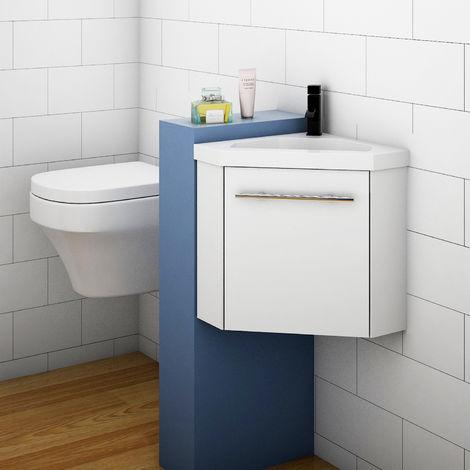 Bathroom Cloakroom Corner Vanity Unit Basin Sink Small Wall Hung Sink Cabinet White