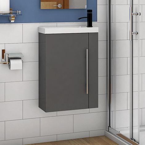 Wall Hung Cloakroom Sink Vanity Unit Grey Small 440mm Door Furniture