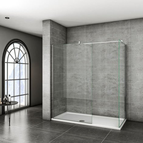 Walk in Shower Screens 800x1950mm 8mm EasyClean Glass Two Chrome Glass 1950 height with Side panel 800x1950mm