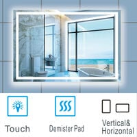 Large Size Bathroom Mirror with Illuminated LED Lights Touch Contorl   Demister-800x600mm