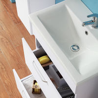 Floor Standing 600mm Bathroom Vanity Unit with Sink White -2 Drawers