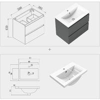 500mm Grey Floating Bathroom Wall Basin Cabinet Sink Unit Pre-assembled