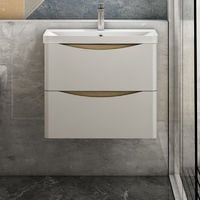 600mm Wall hung Bathroom Sink Vanity Unit with Drawers Cabinets Oak with White Drawers