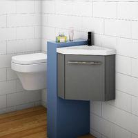 Bathroom Cloakroom Corner Vanity Unit Basin Sink Small Wall Hung Sink Cabinet Grey