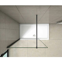 700x1850mm Wet Room Shower screen panel 8mm NANO glass 1850mm Height with black profile 90cm holder